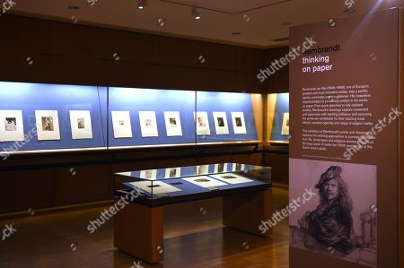 Rembrandt Thinking On Paper exhibition London Stock Photos