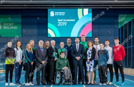 Today Sport Ireland announced a €31.8 million investment in National Governing Bodies, High Performance Programmes and Athletes and Local Sports Partnerships. Pictured are Rhys McClenaghan, Gymnastics, Jenny Egan, Canoeing, Gillian Pinder, Hockey, Peter Ryan, Paralympic Cyclist, Kieran Mulvey, Sport Ireland Chairman, Aoife Gormally, Shooting, John Treacy, Sport Ireland CEO, Kellie Harrington, Boxing, Patrick Flanagan, Para Swimming, David Fitzgerald, Hockey, Brendan Griffin, Minister of State at the Department of Transport, Tourism and Sport, Shane Ryan, Swimming, Dr Una May, Director and Participation and Ethics, Sport Ireland, Brian Gregan, Athletics, Chloe Magee, Badminton, Jack Wooley, Tae Kwon Do and Marcus Lawler, Athletics