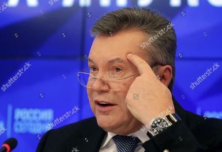 Former Ukrainian President Viktor Yanukovych speaks during a press conference in Moscow, Russia, 06 February 2019. Media reports citing a lawyer for Yanukovic say that he was to talk about 'issues of Ukrainian politics'.