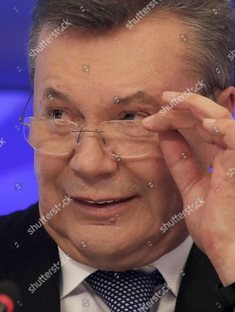 Former Ukrainian President Viktor Yanukovych arrives to speak at a press conference in Moscow, Russia, 06 February 2019. Media reports citing a lawyer for Yanukovic say that he was to talk about 'issues of Ukrainian politics'.