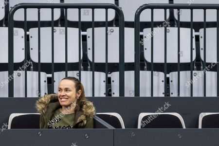 Former tennis player Martina Hingis reacts during a training session of team Switzerland in Biel, Switzerland, 06 February 2019. Switzerland will face Italy in a Fed Cup World Group II encounter on 09-10 February.