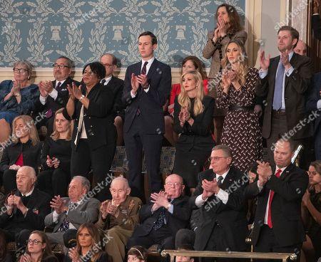 Jared Kushner, Ivanka Trump, Lara Yunaska Trump, Eric Trump and Donald Trump Jnr. watch as President Trump gives his State of the Union to the US Congress at the US Capitol building in Washington DC