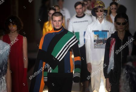 Models present creations by Spanish designer Pablo Erroz on the third day of the 080 Barcelona Fashion at the Sant Pau center in Barcelona, Spain, 06 February 2019. The fashion event runs from 04 to 07 February.