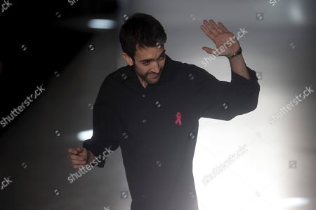 Spanish designer Pablo Erroz waves on the catwalk after presenting his collection on the third day of the 080 Barcelona Fashion at the Sant Pau center in Barcelona, Spain, 06 February 2019. The fashion event runs from 04 to 07 February.
