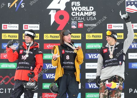 James Woods (C) from Britain, Birk Ruud (L) from Norway and Nicholas Goepper (R) of the USA celebrate their first, second and third place finishes in the men's Ski Slopestyle at Park City Mountain Resort for the FIS World Championships in Park City, Utah, USA, 06 February 2019.