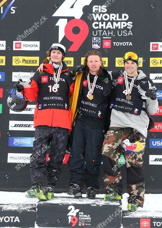 James Woods (C) from Great Britain, Birk Ruud (L) from Norway and Nicholas Goepper (R) of the USA celebrate their first, second and third place finishes in the men's Ski Slopestyle at Park City Mountain Resort for the FIS World Championships in Park City, Utah, USA, 06 February 2019.