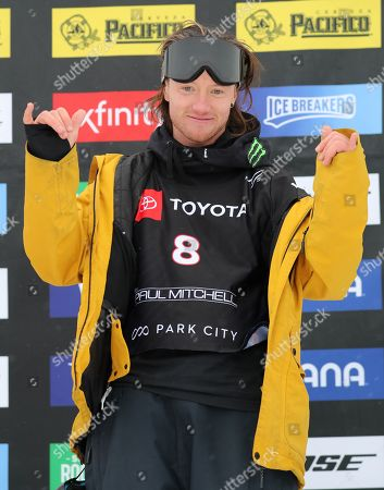 James Woods from Britain, celebrates his first place finishes in the men's Ski Slopestyle at Park City Mountain Resort for the FIS World Championships in Park City, Utah, USA, 06 February 2019.