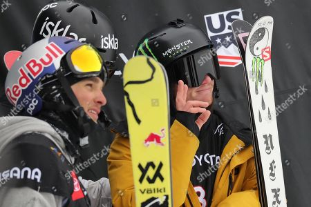 James Woods (R) from Britain, Birk Ruud (C) from Norway and Nicholas Goepper (L) of the USA celebrate their first, second and third place finishes in the men's Ski Slopestyle at Park City Mountain Resort for the FIS World Championships in Park City, Utah, USA, 06 February 2019.