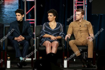 "David Mazouz, Camren Bicondova, Cameron Monaghan. David Mazouz, from left, Camren Bicondova and Cameron Monaghan participates in the ""Gotham"" panel during the FOX presentation at the Television Critics Association Winter Press Tour at The Langham Huntington, in Pasadena, Calif"