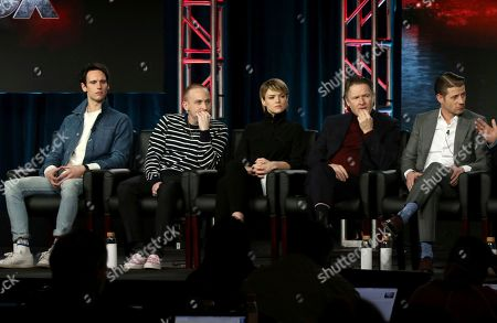 "Cory Michael Smith, Robin Lord Taylor, Erin Richards, Donal Logue, Benjamin McKenzie. Cory Michael Smith, from left, Robin Lord Taylor, Erin Richards, Donal Logue and Benjamin McKenzie participate in the ""Gotham"" panel during the FOX presentation at the Television Critics Association Winter Press Tour at The Langham Huntington, in Pasadena, Calif"