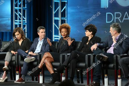 "Liz Heldens, Michael Thorn, Karin Gist, Amy Holden Jones, Todd Harthan. Liz Heldens, Michael Thorn, Karin Gist, Amy Holden Jones and Todd Harthan participate in the ""Voices of Drama"" panel during the FOX presentation at the Television Critics Association Winter Press Tour at The Langham Huntington, in Pasadena, Calif"