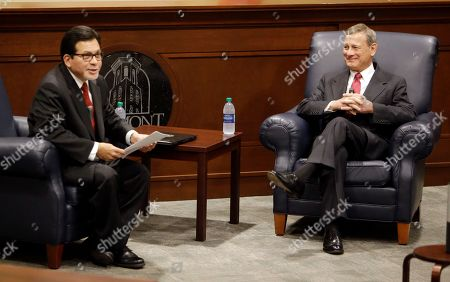 John Roberts, Alberto Gonzales. Supreme Court Chief Justice John Roberts, right, takes part in a forum with Belmont University Law Dean Alberto Gonzales, left, at Belmont University, in Nashville, Tenn
