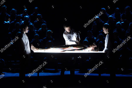 Actors perform during the press preview of the play 'The Martyrdom of Saint Sebastian' at the Calderon Theater in Valladolid, Spain, 06 February 2019. The play by Spanish theater company Fura Dels Baus premieres on 07 February.