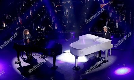Riccardo Cocciante (L) and Claudio Baglioni (R) perform on stage at the Ariston theatre during the 69th Sanremo Italian Song Festival, Sanremo, Italy, 06 February 2019. The Festival runs from 05 to 09 February.