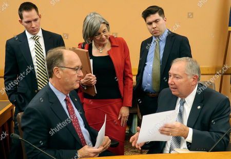 Laura Kelly. Republican leaders in the Kansas Senate and their aides confer after a review of a tax relief bill before a Senate debate, at the Statehouse in Topeka, Kan. They are, bottom left to bottom right, Senate Vice President Jeff Longbine, R-Emporia; Chase Blasi, the Senate president's legislative director; Senate President Susan Wagle, R-Wichita; Harrison Hems, Wagle's chief of staff, and Senate Majority Leader Jim Denning, R-Overland Park