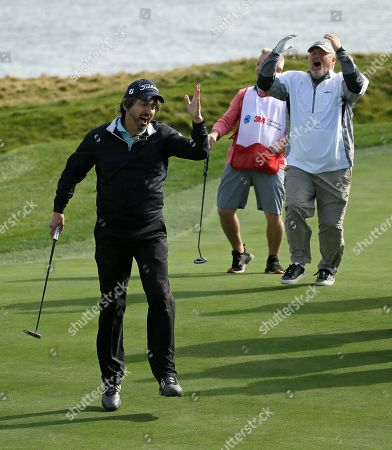 Ray Romano, Larry the Cable Guy. Ray Romano, left, and Daniel Lawrence Whitney, known professionally as Larry the Cable Guy, right, react after Romano missed a putt on the 17th green during the celebrity challenge event of the AT&T Pebble Beach National Pro-Am golf tournament, in Pebble Beach, Calif