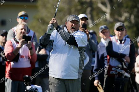 Daniel Lawrence Whitney, known professionally as Larry the Cable Guy, hits from the first tee during the celebrity challenge event of the AT&T Pebble Beach National Pro-Am golf tournament, in Pebble Beach, Calif