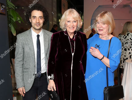 "Justin Audibert, Artistic Director of the Unicorn Theatre, Camilla Duchess of Cornwall and Joanna David attend a reception to launch the ""Glorious Grandparents"" initiative at Unicorn Theatre"