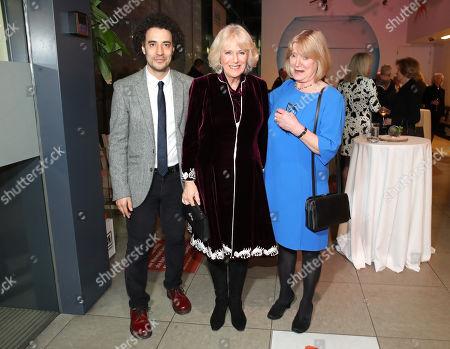"Justin Audibert, Artistic Director of the Unicorn Theatre, Camilla Duchess of Cornwall and Joanna David attend a reception to launch the ""Glorious Grandparents"" initiative at Unicorn Theatre"
