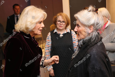 "Camilla Duchess of Cornwall and Phyllida Law attend a reception to launch the ""Glorious Grandparents"" initiative at Unicorn Theatre"