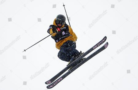 James Woods, of Britain, competes during the men's slopestyle skiing world championship, in Park City, Utah