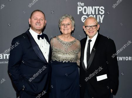 Kevin Robert Frost, Bill Roedy. Kevin Robert Frost, left, a guest and Bill Roedy attend the amfAR Gala New York AIDS research benefit at Cipriani Wall Street, in New York