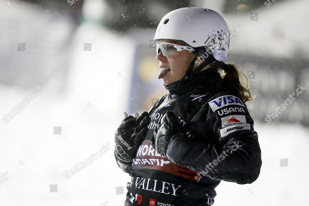 Ashley Caldwell of the USA after crashing during the women's Aerials for the FIS World Championships at Deer Valley Resort in Park City, Utah, 06 February 2019.