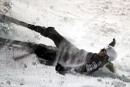 Stock Image of Ashley Caldwell of the USA crashes during the women's Aerials for the FIS World Championships at Deer Valley Resort in Park City, Utah, 06 February 2019.