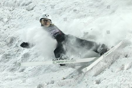 Ashley Caldwell from the USA crashes in the Women's Aerials during the FIS World Championships at Deer Valley Resort in Park City, Utah, 06 February 2019.