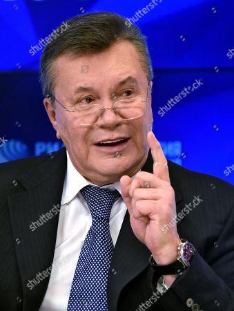 Viktor Yanukovych, during a press conference at the International Information Agency (Rossiya Segodnya).