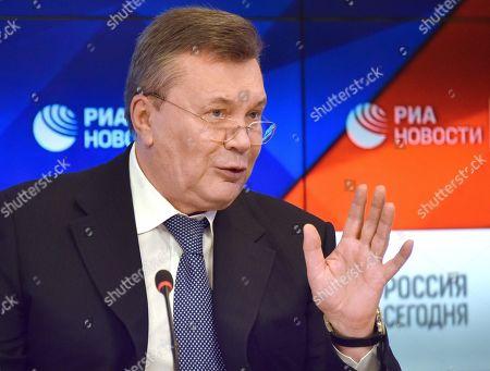 Stock Picture of Viktor Yanukovych, during a press conference at the International Information Agency (Rossiya Segodnya).