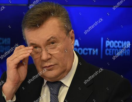 Stock Photo of Viktor Yanukovych, during a press conference at the International Information Agency (Rossiya Segodnya).