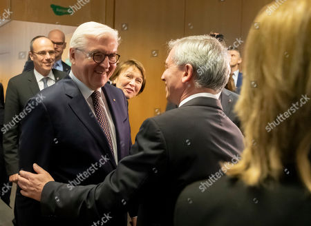 Lord Mayor of town, Peter Feldmann (R) welcomes German President Frank-Walter Steinmeier (L) at Frankfurt Police Headquarter in Frankfurt, Germany, 07 February 2019. President Steinmeier will visit and meet representatives of police authorities, police women and committed citizens for talks.