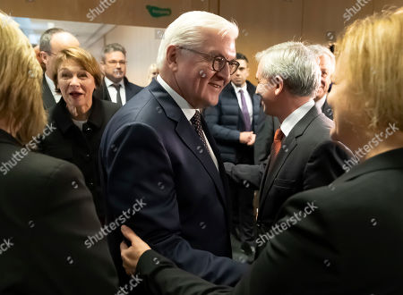 Lord Mayor of town, Peter Feldmann (2-R) welcomes German President Frank-Walter Steinmeier (C) and his wife Elke Buedenbender (2-L) at Frankfurt Police Headquarter in Frankfurt, Germany, 07 February 2019. President Steinmeier will visit and meet representatives of police authorities, police women and committed citizens for talks.