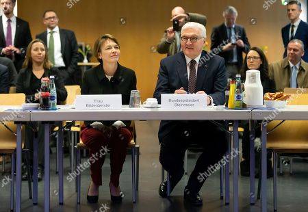 German President Frank-Walter Steinmeier (R) and his wife Elke Buedenbender arrive at Frankfurt Police Headquarter in Frankfurt, Germany, 07 February 2019. President Steinmeier will visit and meet representatives of police authorities, police women and committed citizens for talks.