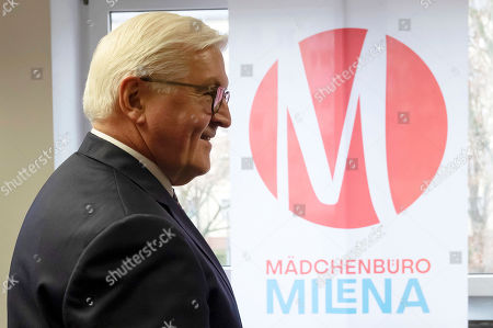 German President Frank-Walter Steinmeier, arrives at the Girls Office Milena (Maedchenbuero Milena) in Frankfurt, Germany, 07 February 2019. President Steinmeier will visit and meet representatives of police authorities, police women and committed citizens for talks.