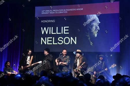 Micah Nelson, Mickey Raphael, Anthony LoGerfo, Lukas Nelson, Dave Matthews, Corey McCormick. Micah Nelson, from left, Mickey Raphael, Anthony LoGerfo, Lukas Nelson, Dave Matthews, and Corey McCormick perform at the Producers & Engineers Wing 12th Annual GRAMMY Week Celebration at the Village Studio, in Los Angeles