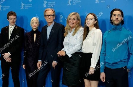 From left, actor Caleb Landry Jones, actress Andrea Riseborough, actor Bill Nighy, director Lone Scherfig, actress Zoe Kazan and actor Tahar Rahim pose for the media during a photocall for the film 'The Kindness Of Strangers' at the 2019 Berlinale Film Festival in Berlin, Germany