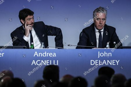 Members of the UEFA Executive Committee Andrea Agnelli (L) and John Delaney attend the 43rd UEFA Congress in Rome, Italy, 07 February 2019.