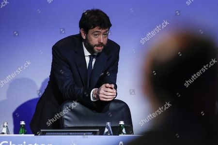 Andrea Agnelli, member of the UEFA executive committee, representing European Club Association (ECA) attends the 43rd UEFA Congress in Rome, Italy, 07 February 2019.