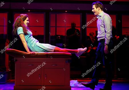 """Katharine McPhee as Jenna and David Hunter as Dr.Pomatter perform 'Bad Idea' during the musical """"Waitress"""" in London, . The musical opens on March 7, 2019"""