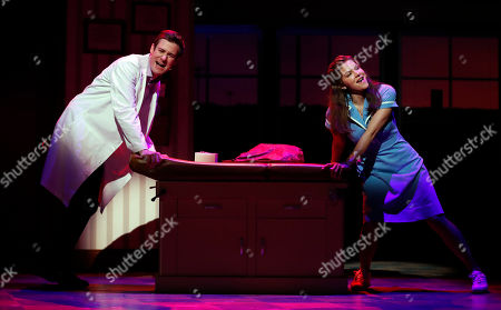 Katharine McPhee as Jenna and David Hunter as Dr.Pomatter perform during the scene 'Bad Idea' of the musical Waitress in London, . The new musical will start on March 7,2019