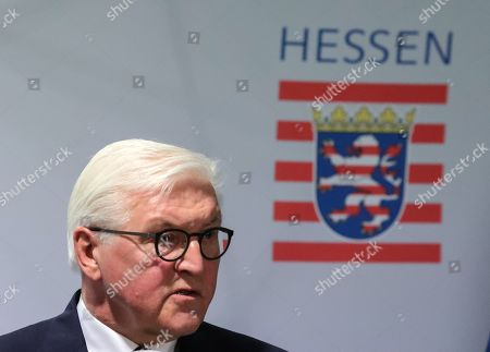 Stock Image of German President Frank-Walter Steinmeier answers questions from the media after his visit at a police station in Frankfurt Main, Germany, 07 February 2019. Steinmeier, during his visit, will meet representatives of police authorities, policewomen and committed citizens for talks.