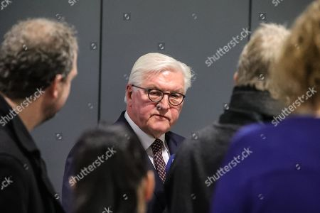 German President Frank-Walter Steinmeier answers questions from the media after his visit at a police station in Frankfurt Main, Germany, 07 February 2019. Steinmeier, during his visit, will meet representatives of police authorities, policewomen and committed citizens for talks.