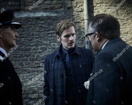 Shaun Evans as Endeavour, James Bradshaw as DR Max Derbryn and Anton Lesser as CS Reginald Bright.