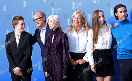 Caleb Landry Jones, British actor Bill Nighy, British actress Andrea Riseborough, Danish director Lone Scherfig, US actress Zoe Kazan and French actor Tahar Rahim pose during the photocall of 'The Kindness of Strangers' during the 69th annual Berlin Film Festival, in Berlin, Germany, 07 February 2019. The movie is presented in the Official Competition at the Berlinale that runs from 07 to 17 February.