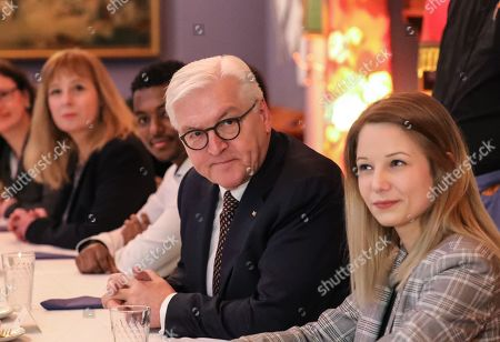 German President Frank-Walter Steinmeier (C) during a meeting with committed citizens in Frankfurt Main, Germany, 07 February 2019. The German President is taking part in a series of talks with citizens which represent different positions on topics such as security and immigration and bringing them into conversation with each other.