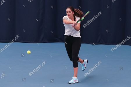 Great Britain's  Laura Robson who is recovering from a hip injury  hits in practice session with GB team