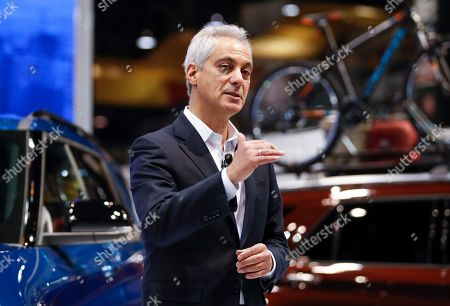 Chicago Mayor Rahm Emanuel speaks at the Chicago Auto Show at McCormick Place in Chicago, Illinois, USA, 07 February 2019. The show offers media previews of vehicles and technologies before opening to the public on 09 February.