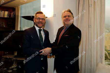 Alternate Foreign Minister Giorgos Katrougalos (R) welcomes German Minister of State for Europe Michael Roth (L) during their meeting, in Athens, Greece, 7 February 2019. Roth and Katrougalos focusing on bilateral political and financial issues, the recent regional developments as well as issues of European interest as Brexit, the migration and the common foreign policy and the safety policy, a ministry announcement said.